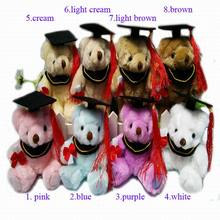 "14.5CM(5.7"") Plush Joint Graduation Teddy Bear doll Stuffed Toys Urso De Pelucia -Diploma Graduation Gift For Students 8color(China)"