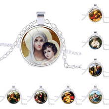 Blessed Virgin Mary Mother of Baby necklace Jesus Christ Christian pendant Catholic Religious Glass Tile Pendant Necklace(China)