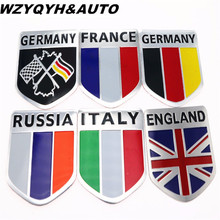 3D Aluminum car Flag sticker accessories For VW/mazda/ mitsubishi/audi/hyundai /opel /skoda/ford LADA Renault car styling