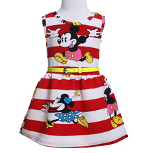Fashion Baby Kids Girls Princess Party round neck sleeveless Dress Minney Mouse Stripe cotton casual Summer Dresses one pieces