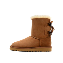 Size 35-40 Waterproof Sheep Skin Suede Women Snow Boots Back Silk Butterfly Long or Short Woman Winter Boots(China)