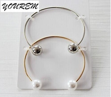 One pair stainless steel new cuff double imitation pearls bangles for women fashion girls jewelry bracelets fj142 YOUREM