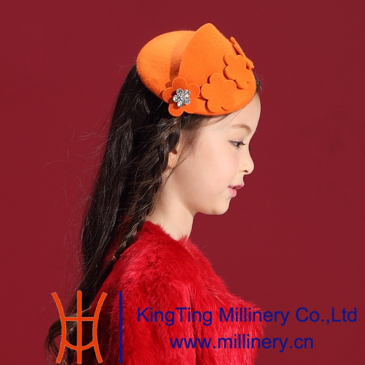 Free Shipping  Children gril wool Fascinators Lovely Dress Hair Accessories with Orange Small Flower Look Like the Princess<br><br>Aliexpress