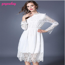 go you buy Standing on the new European woman romantic temperament collar waist long-sleeved jacquard lace dress 6081
