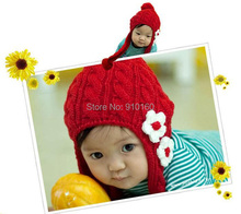 wholesale 10 pcs/lot Baby hats with flowers infant kintting caps Autumn & Winter baby cap kids hat infant hats boys girls gift(China)