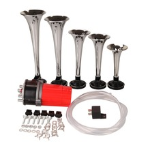 (Shipping Fron US DE UK )Silver 12V Universal Alloy Chrome 4 Trumpet Train Car Boat Van Air Horn Kit With Air Compressor(China)
