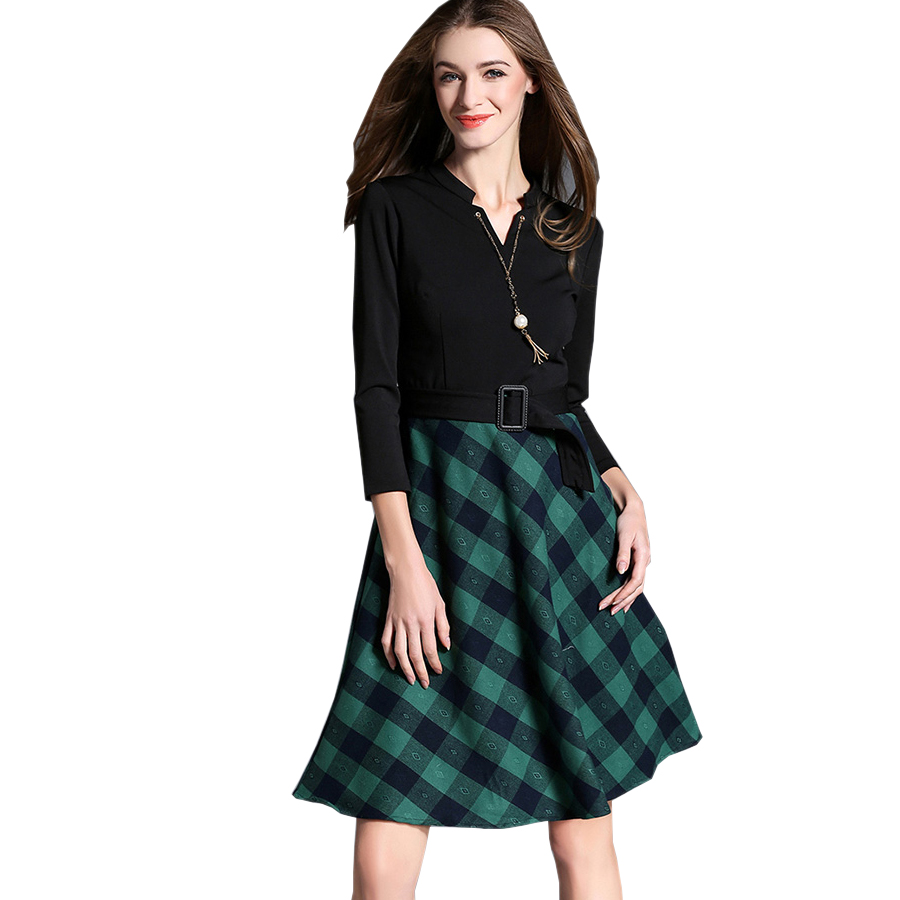 2017 New Women Winter Dress Runway Style Vintage Plaid Patchwork Long Sleeve V-Neck Slim Knitted Office Party Dresses VestidosÎäåæäà è àêñåññóàðû<br><br>