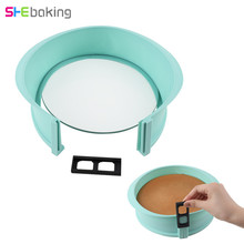 Shebaking 1pc Silicone Springform Pan With Glass Base 3D Sugarcraft Fondant Cake Chocolate Muffin Mold DIY Baking Pastry Mould(China)