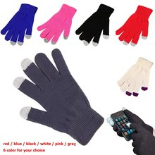 Winter Soft Gloves Men Women Touch Screen Glove Women Texting Outdoor Capacitive Smartphone Stretchy Windproof Knit Warm Mittens(China)