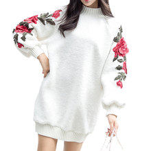 Winter Woolen Blend Rose Embroidery Dresses Turtleneck Loose Pullovers Vestidos Solid Streetwear Women Sweater Autumn Dress 2017(China)