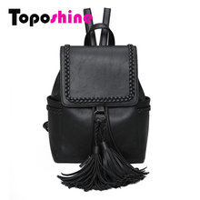 Toposhine Vintage Tassel Backpacks Weaving Girls School Bag PU Soft Lady Backpack Women Backpacks Quality Hot Fashion Bag 1605