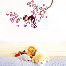 Sleeping Monkey on the Peach Tree Branches Infant Babies Room Wall Stickers Home Decor Removable PVC Wallpaper Poster Art Mural