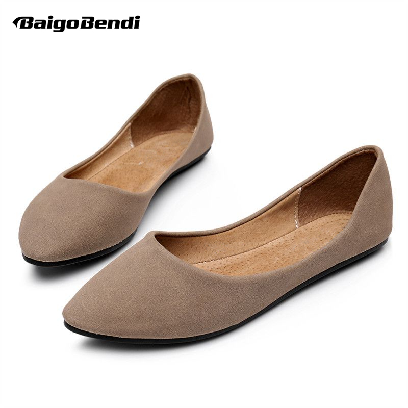 US5-9 New Soft Leather like Comfort SLIP-ON Pointed Toe Womens Flats Boat Shoes<br>