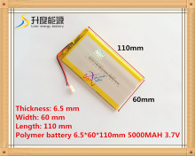 3.7V 5000 mAh Polymer rechargeable Lithium Li Battery For GPS ipod PSP Tablet PC Mobiles Backup Power 6560110 free shipping(China)