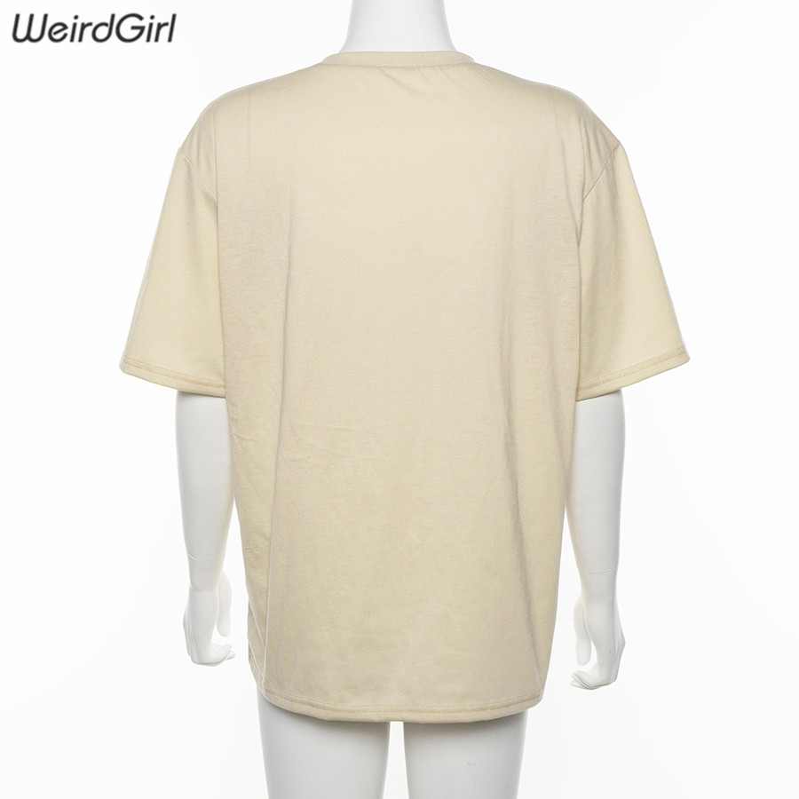 Weirdgirl women casual fashion t-shirt khaki letter sun moon print loose o-neck half sleeve elastic stretched summer home new 5