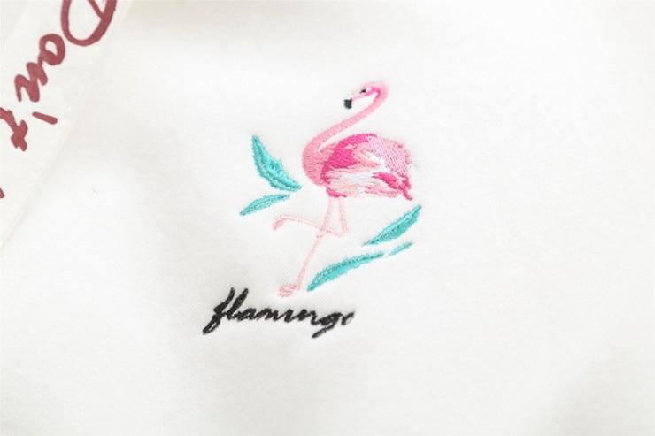 2018 Autumn Spring Hoodies Sweatshirts Women Hoody Flamingo Embroidery Sweatshirt Female Casual Fashion Hearts Sudaderas Mujer (4)