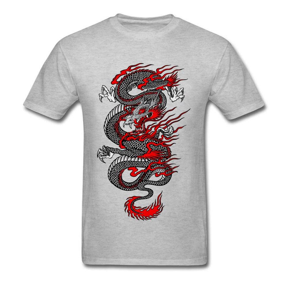 Asian Dragon 100% Cotton Tops T Shirt for Men Printed T-shirts Summer New Coming O-Neck T Shirt Short Sleeve Free Shipping Asian Dragon grey