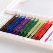 1 Case Handmade Eyelashes 12 Rows Rainbow Colorful Synthetic Individual False Eyelashes Fake Eye Lashes Makeup Extension Tools(China)