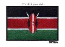 "Kenya 3"" wide embroidery flag patch for applique on clothes/art/patch for clothes(China)"