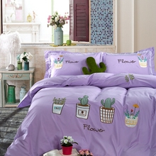 Cactus flower pot bedding sheets linens purple 100% Egyptian cotton romantic Embroidered duvet sets Twin/Full/Queen/king size