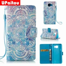 UPaitou 3D Relief Floral Painted Coque For Samsung Galaxy A3 2016 Leather Wallet Silicone Flip Case For Samsung A3 2016 Cover(China)