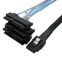 CY 100cm Internal 36 Pin Mini SAS SFF-8087 Host to 4 SFF-8482 Target SAS Hard Disk and SATA Power Cable