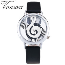 Unique Women Quartz Analog Hollow Musical Note Style Leather WristWatch Ladies Gfit Casual Watch Female Relogio Feminino 1939(China)