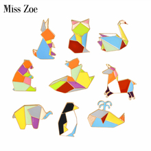 Miss Zoe Penguin Rabbit Elephant Bear Fox Squirrel Swan Whale Brooch Button Pins Denim Jacket Pin Badge Cartoon Jewelry Gift(China)