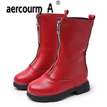 aercourm A 2017 Gilrs Mid-Galf Boots New Zip Children Boots Children Boots Flat Girls Red Short Plush Shoes Waterproof 27-36(China)