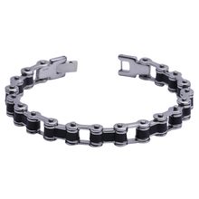 "Mens8.5MM Titanium Magnetic Therapy Link Bracelet Negative Ion Germanium Power Health Wrist Band 8.5"" Golden Silver Tone"