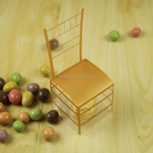 50pcs/lot PVC Golden Chair Candy Box European Style Royal Chair Wedding Candy Box Wedding Favor Candy Box Plastic Gift Boxes