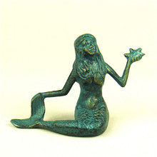 Antique Metal Mermaid Sculpture Cast Iron Sea-Maid Figurine Fairy Tale Ornament Craft for Home Decoration and Festival Present(China)