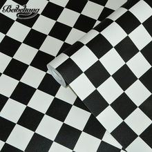 beibehang Korean waterproof black and white square grid wallpaper salon shop clothing store restaurant KTV background wallpaper