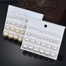 MissCyCy 12 pairs/set Simulated Pearl Earrings For Women Jewelry Bijoux Brincos Pendientes Mujer Fashion Stud Earrings(China)
