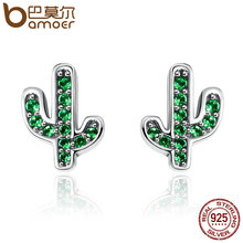 BAMOER Hot Sale 925 Sterling Silver Dazzling Green Cactus Crystal Stud Earrings for Women Authentic Silver Jewelry Bijoux SCE097(China)
