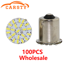 100pcs Strobe S25 P21W BA15S 1156 BAY15D 1157 3014 22SMD Car LED For Tail Side Lights Parking Lights Lamps 12V White Yellow Red