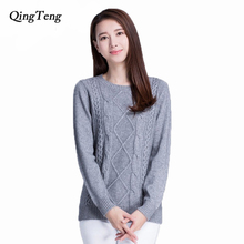 100% Pure Cashmere Sweaters Women Winter Warm Thick Pullovers 2015 New Hot Sale O-neck Sweater Standard Pullover for girls