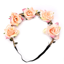 M MISM 2017 New Fashion Women Elastic Headband Elegant Rose Flower Hair Band Summer Beach Head Accessories Ladies Bride Wedding(China)
