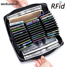 Buy Long Genuine leather Credit Card Holder Large Capacity Card Wallets Passport Wallet Unisex Wallets RFID Anti Theft Card holder for $14.33 in AliExpress store