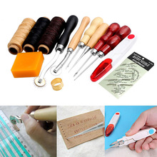 13Pcs New Leather Craft Hand Stitching Sewing Tools Thread Awl Waxed Thimble Kits E2shopping HG99