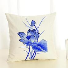 Free Shipping Custom New Throw Pillow China Style Blue And White Figure Digital Printing Cushion For Home Chair(China)