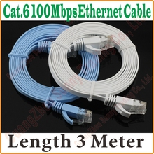 BEST PRICE BEST QUALITY New 9FT 3M CAT6 CAT 6 Flat UTP Ethernet Network Cable RJ45 Patch LAN Cord wholesale,Free&Shipping,