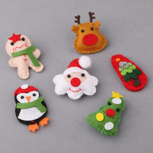 New style pcs/lot colorful printing cartoon Deer Christma tree santa penguin shape non-woven handmade diy jewelry hair accessory