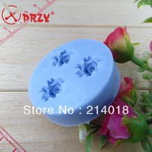 (( Holiday normal delivery )) Free shipping rose(3pcs/lot) chocolate silicon mold  Cake decoration mold (ch012)
