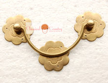 Plum Blossom Drawer Handles Chinese Furniture Brass Hardware Wood box Drawer Pull Copper 4pcs of 9.5cm(China)
