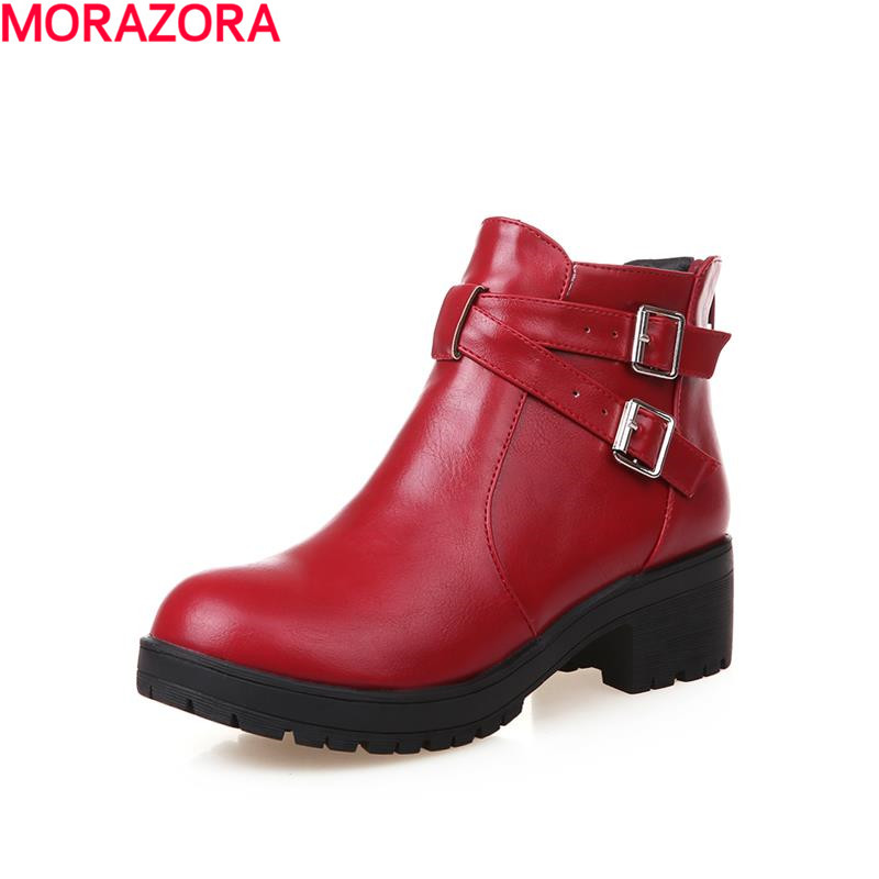2016 new arrive ladies sexy woman thick high heel solid dress shoes ankle boots fashion round toe buckle zip women boots<br><br>Aliexpress