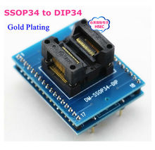 Free Shipping New SSOP34 to DIP34 Gold Plating  Adapter /TSSOP34 to DIP34  IC Test Socket Programmer adapter  0.65mm Pitch