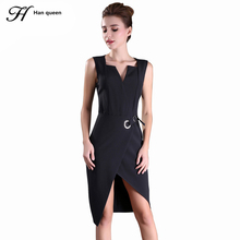 H Han Queen Sale Summer Women Business Dress V-neck Sexy Split black OL Office Work Tunic Bodycon Sheath Casual Pencil Dresses(China)