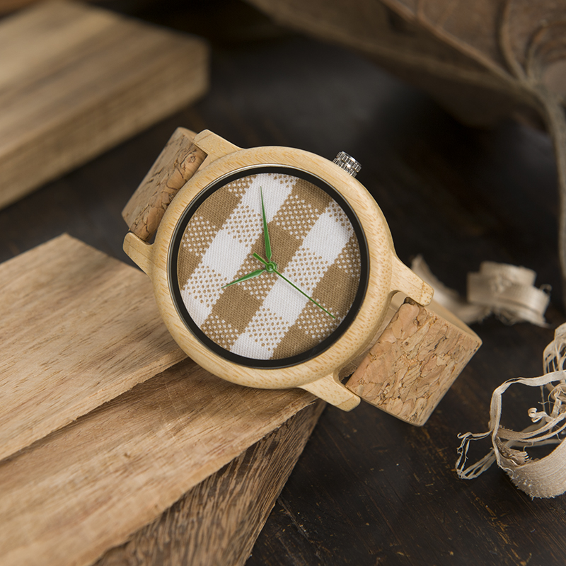 Bamboo Wood With Fabric Dial Women Quartz Watches