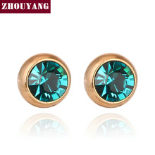 Simple Green Blue Crystal OL Style Rose Gold Color Stud Earrings Colorful Gift For Women Men Wholesale Top Quality ZYE637